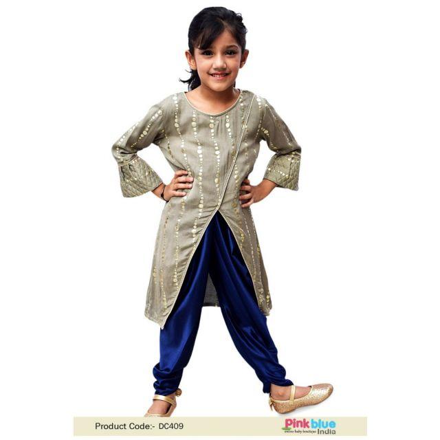 Little Girl Ethnic Wear Jacket Kurta and Dhoti Pant Set - Kids ethnic dress