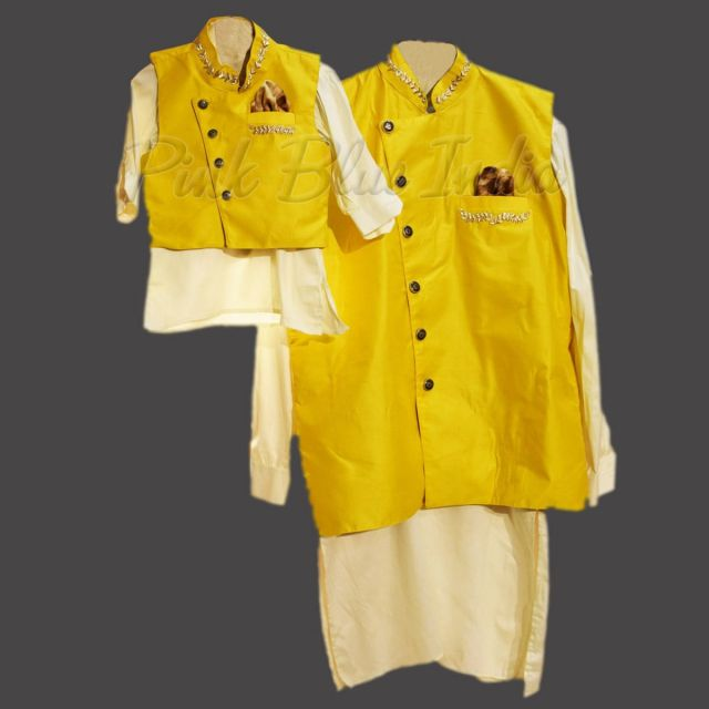Father and Son Matching Kurta Pyjama, Father Son Ethnic Wear for Indian wedding