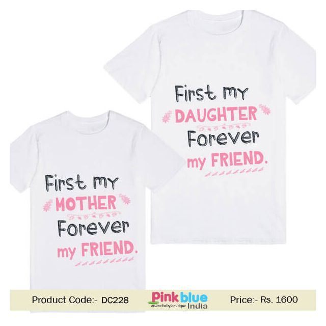 """""""First My Mother Daughter Forever My friend"""" Printed Family Matching T-shirt Tee"""