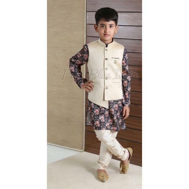 Floral Print Kurta Pajama - Baby Boy Ethnic Wear Online