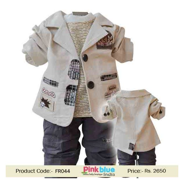 kids special occasion formal dress 3 Piece Partywear outfits beige