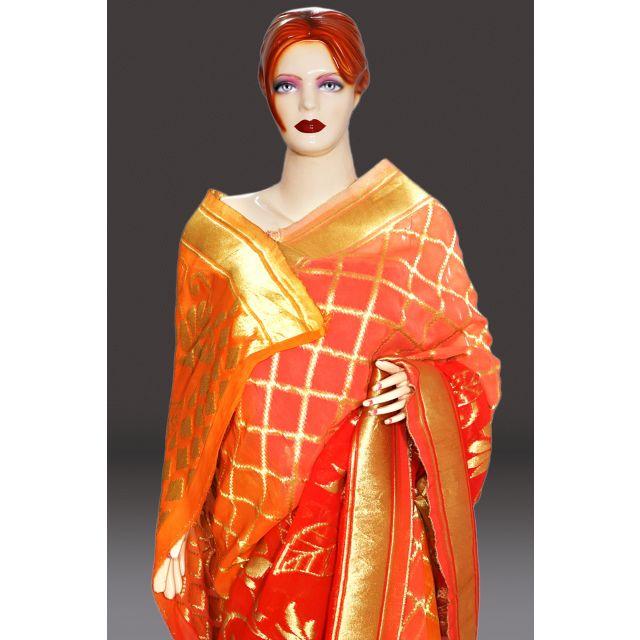 Buy Online Georgette Saree with Zari Hand Work, Zari saree Wedding collection