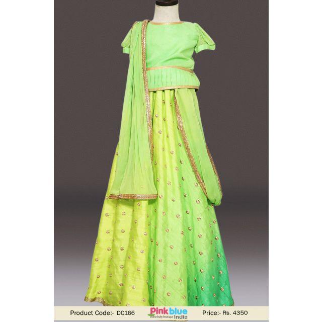 Designer Green Partywear Lehenga Choli, Kids Girls Girlish Lehenga Online