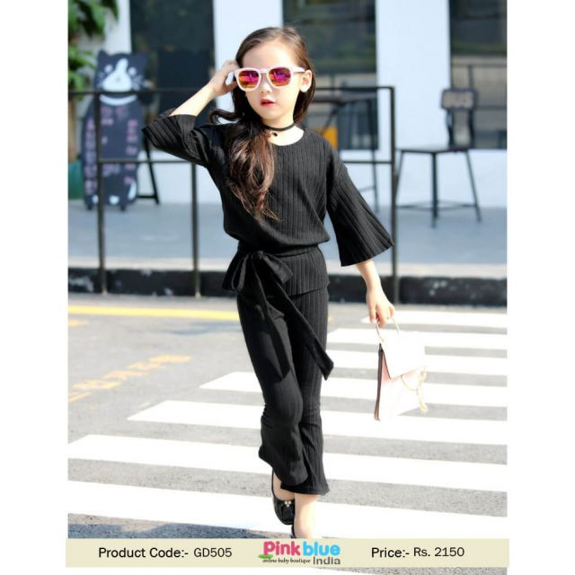 Kids Baby Girl Casual Two Piece Outfit Set Black 2017