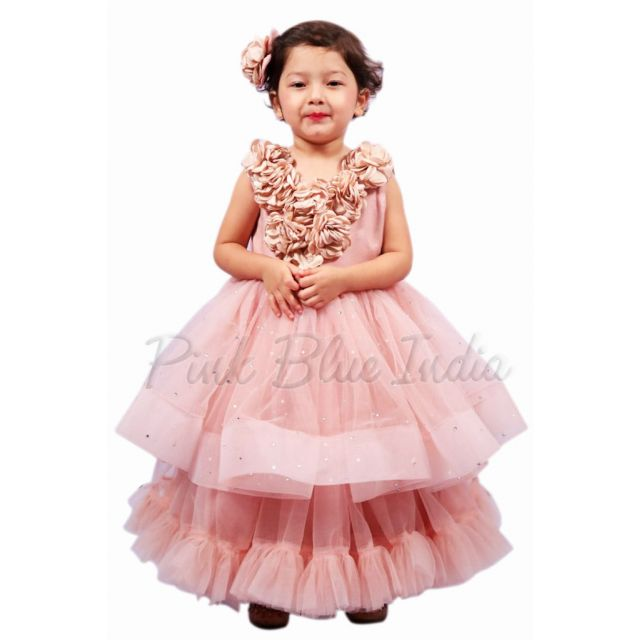 Girls Party Wear Beige Color Layered Gown - Birthday Layered Dress, Kids Party Wear