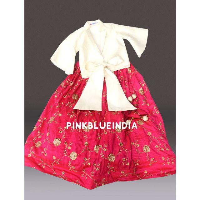 Buy Girls Silk Skirts, Kids Crop Top With Long Skirt Online India