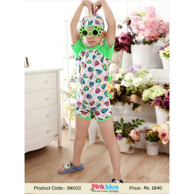 Kids and Toddler Boy Swimwear Fish Pattern - Baby one piece Swimsuit