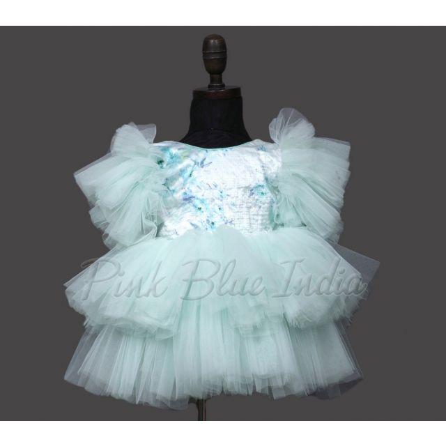 Baby Girl Green Sequin Birthday Net Gown, Kids sequin dress