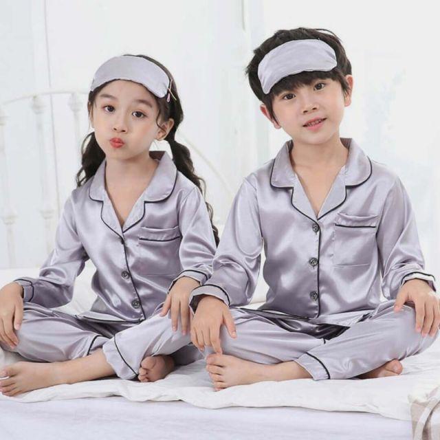 Grey Kids Sleepwear, Night Suit, siblings  Pajama Set Online