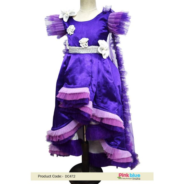 baby girl princess dress with LED Cape - Girls High Low Birthday Party Dress