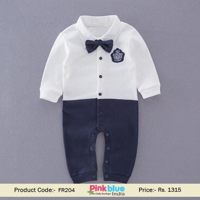 Blue White Bow Tie Pocket Patch Romper birthday gift, kids wear