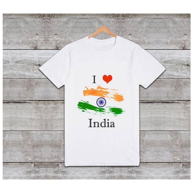 I Love India Printed Tshirt – Customized Kids Tri Colour T shirts - Patriotic Baby Tees Online