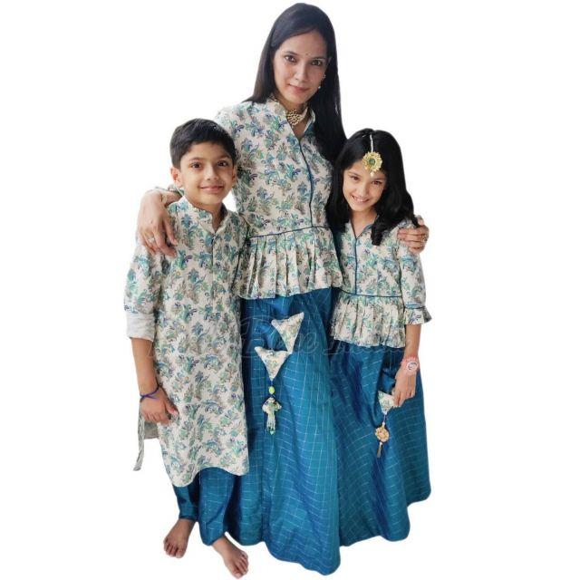 family matching dress, family dress set of 3 traditional Family Dress Set for Wedding, Diwali