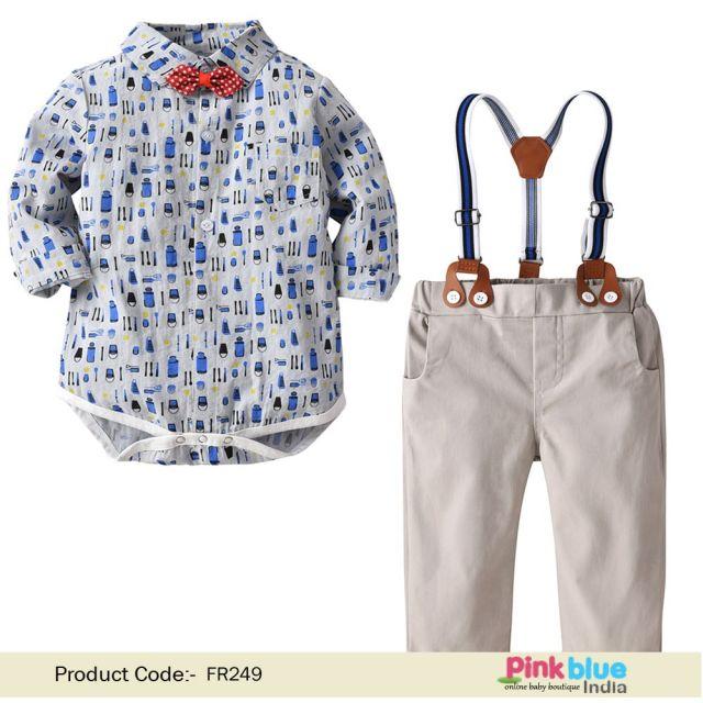 Baby Boy Bowtie Romper Shirt – Kids Suspender Pants Party Clothing Set
