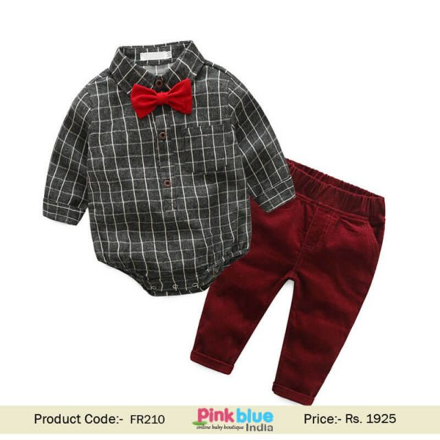 Infant Boys First Birthday Outfit Romper Shirt Bow Tie Outfit set