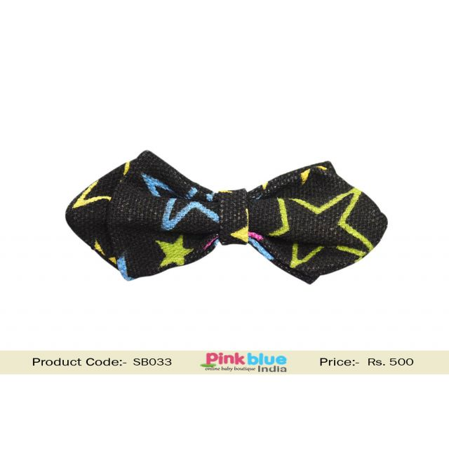 Indian Kids and Toddlers Black Bow Tie with Stars