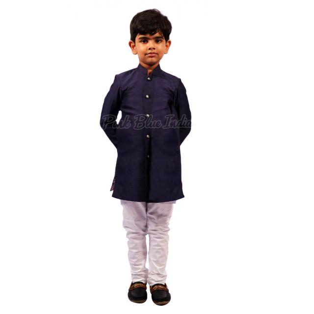 Boys Blue Kurta White Pajama - Kids kurta Pyjama online