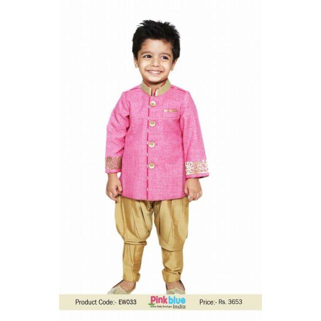 Kids Boys Bollywood Indo Western wedding Sherwani Breeches Pajama set