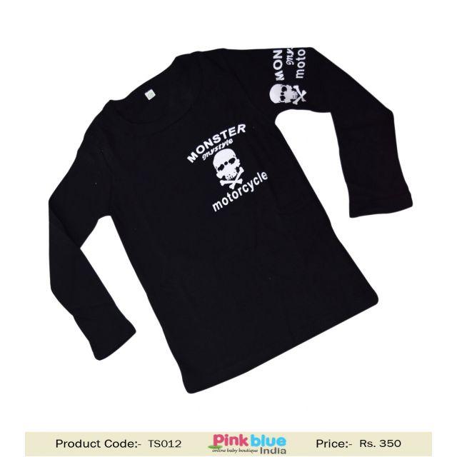 Childrens Full Sleeves Black T-shirts Danger Print