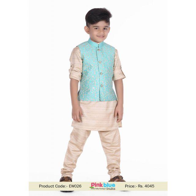 kids Indian Wedding Wear Set Ferozi kurta Pajama and jacket