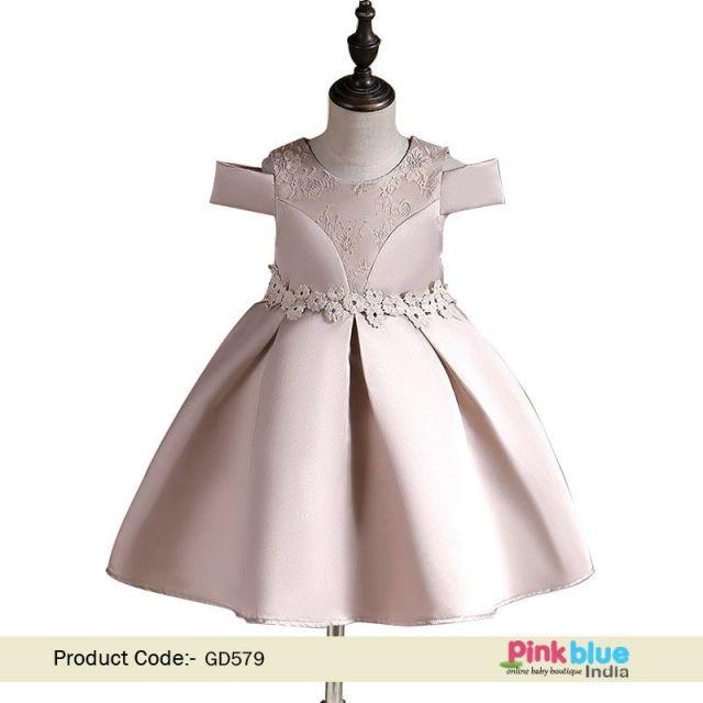 Kids Party Dress - Peach Party Wear Kids Birthday Frock