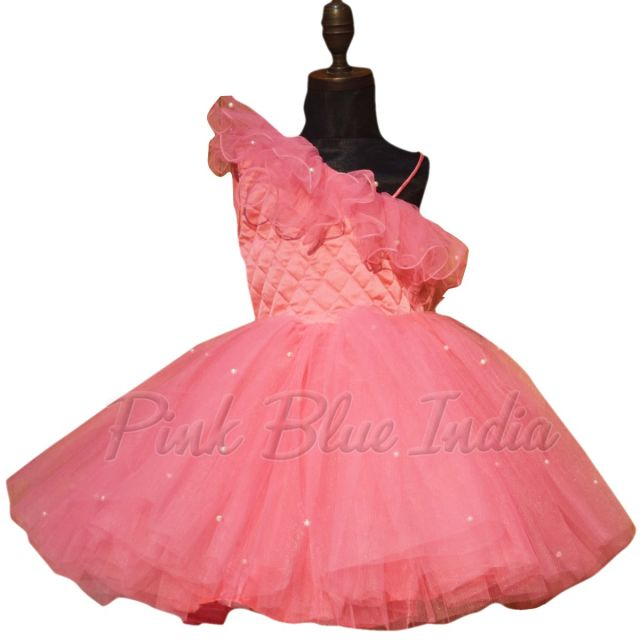 Girls Birthday Gown, Kids Pink Gown Party Wear Dress