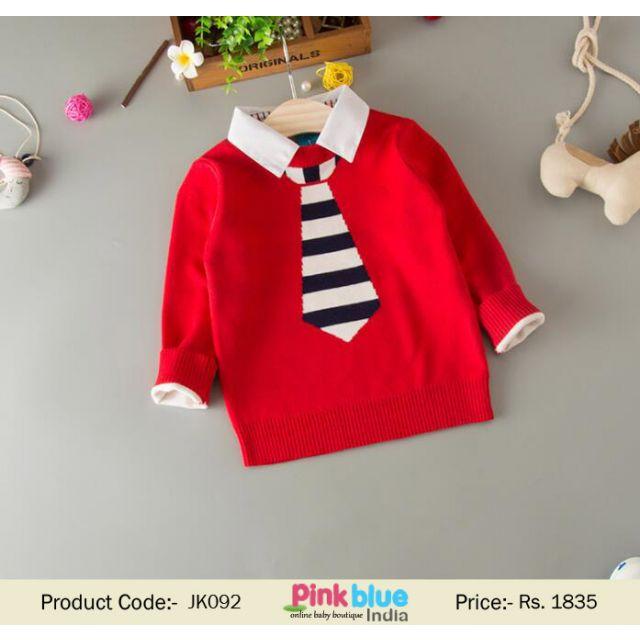 red kids wool sweater