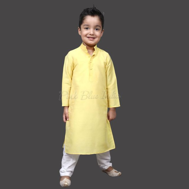 Kids Yellow Kurta Pajama, Cotton Yellow Baby Boy Kurta Pajama