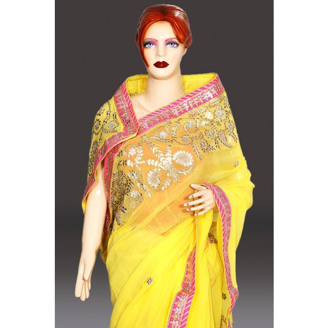 Lemon Yellow Designer Saree Wedding Haldi Function Saree Online India