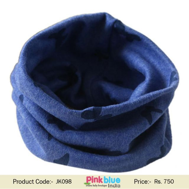 Autumn Winter Kids Boys and Girls Butterfly Blue Neck Loop Scarves