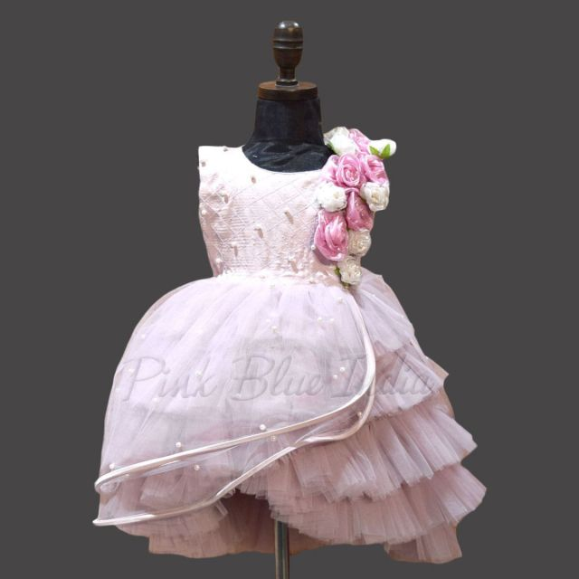Mauve High Low Layered Wings Girls Party Wear Gown