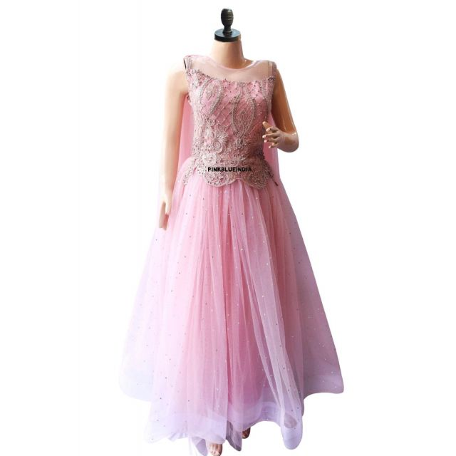 Indian Wedding Gown - Mauve Pink Women Party Wear Gown, Festive Gown Online India