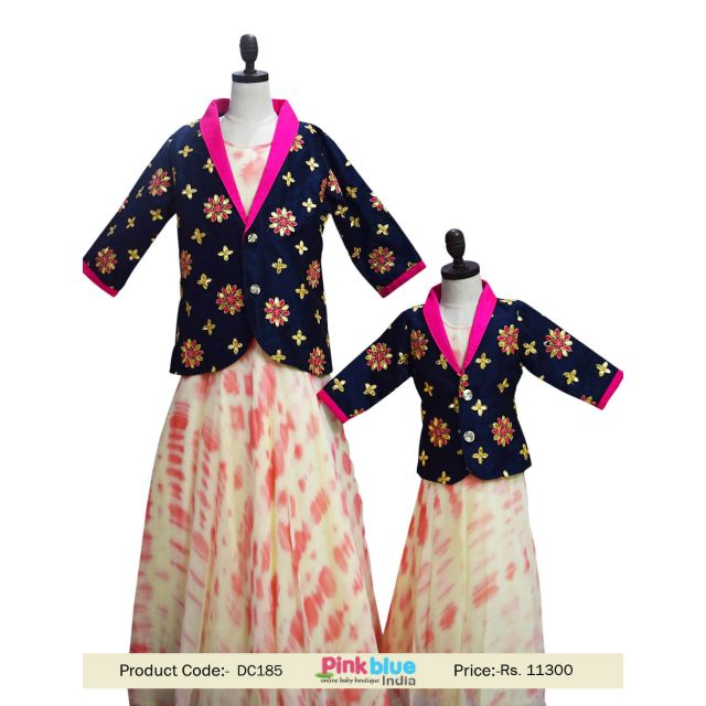 Cute Mommy and Daughter Shibori Evening Dress Online Shop India