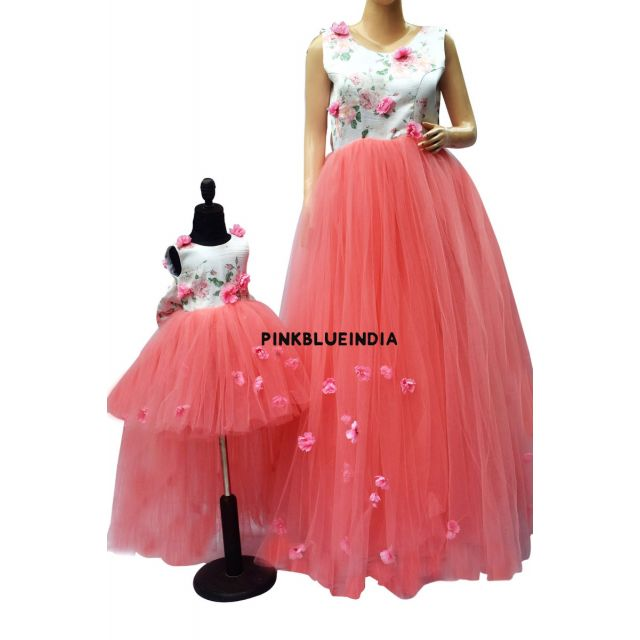 Matching Mother Daughter Dress, Pink Mom and Daughter Gown Online