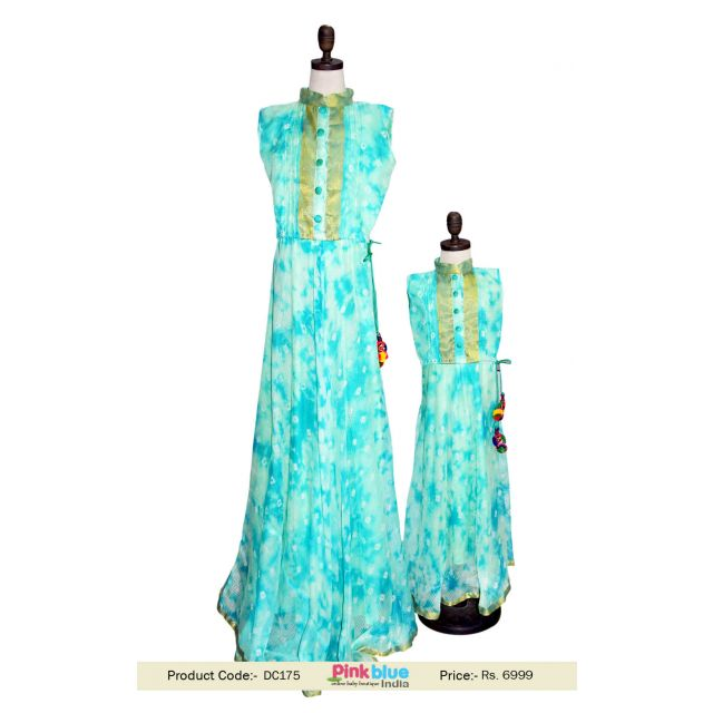 Sleeveless Long Maxi Mommy and Me Dresses - Casual Family Clothes Outfits India