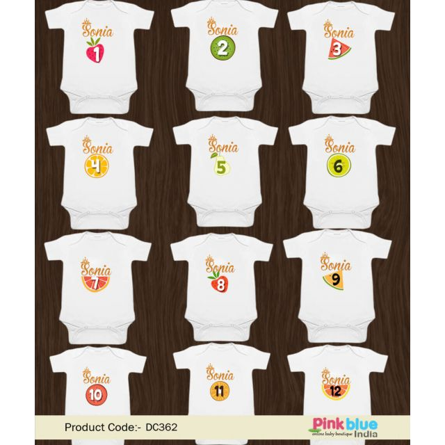 Baby Girl or Baby Boy Month by Month Fruit Baby Romper, Custom made Romper