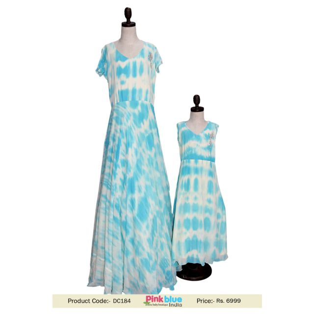 Blue Color Shibori Design Mother and Daughter Full Long Gown