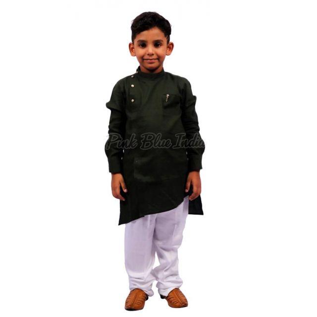 Olive Green Kids Kurta Pajama online - Kids Party Wear outfit