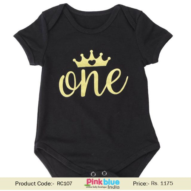 Black One Piece Romper Baby Girl's 1st Birthday Party Crown Print