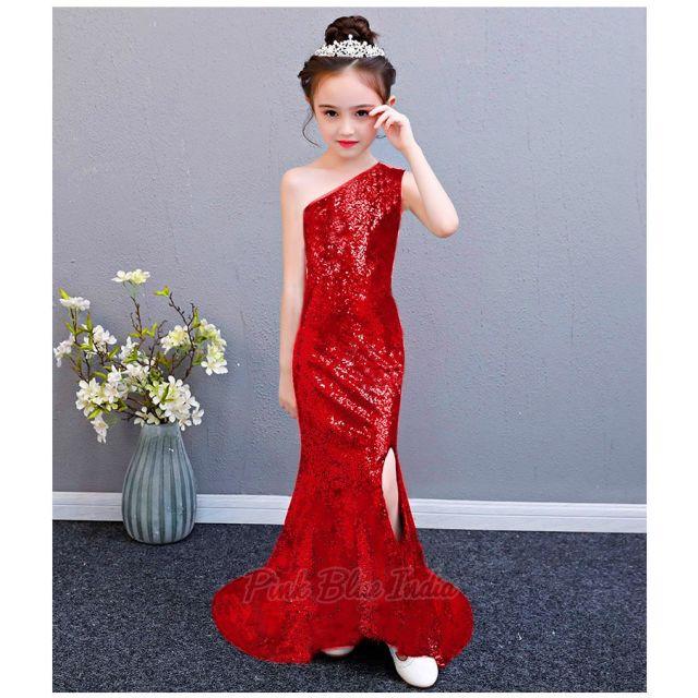 Red Dress party Wear, Birthday, One Shoulder Sequin Girls Dress Online