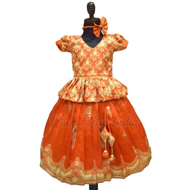 Indian Orange Girls Designer Lehenga Set Online