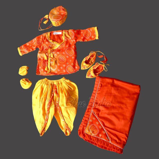 ethnic unique baby jamna set, Orange and yellow jamna dress Online India