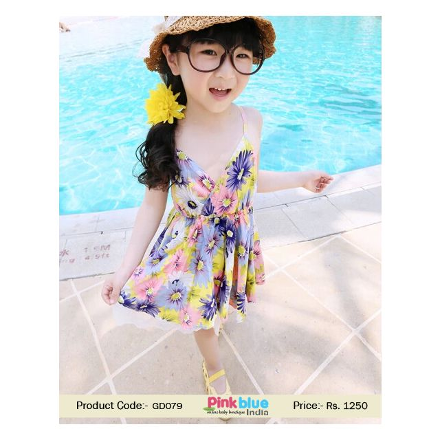 Floral Print kids summer outfit Overlapping Neck