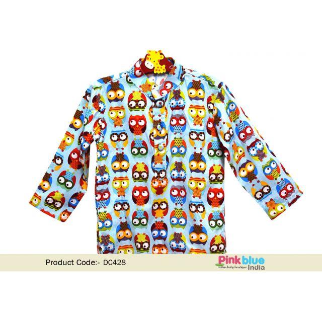 Cute Owl Print Party Wear Cotton Kurta for Boys Online