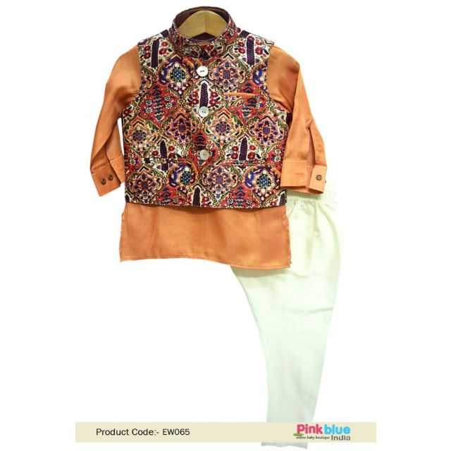 Infant Party Occasion wear Silk Kurta Pajama with Jacket 1-2 Year Old Boy India