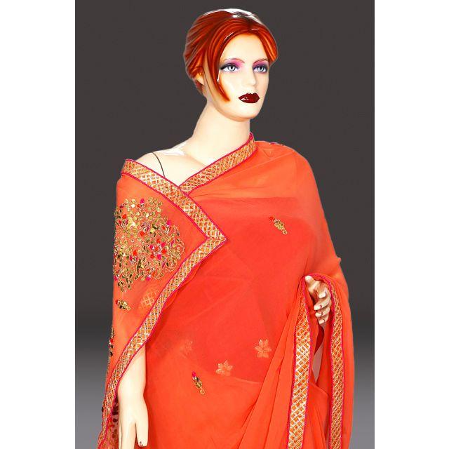peach color pure georgette saree online India