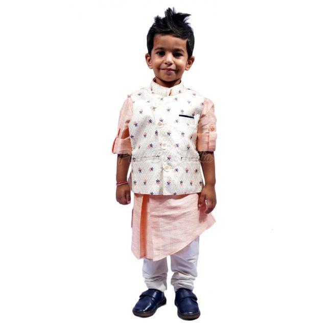 Peach Colour Kids Kurta Pajama - 3 4 year baby boy ethnic wear