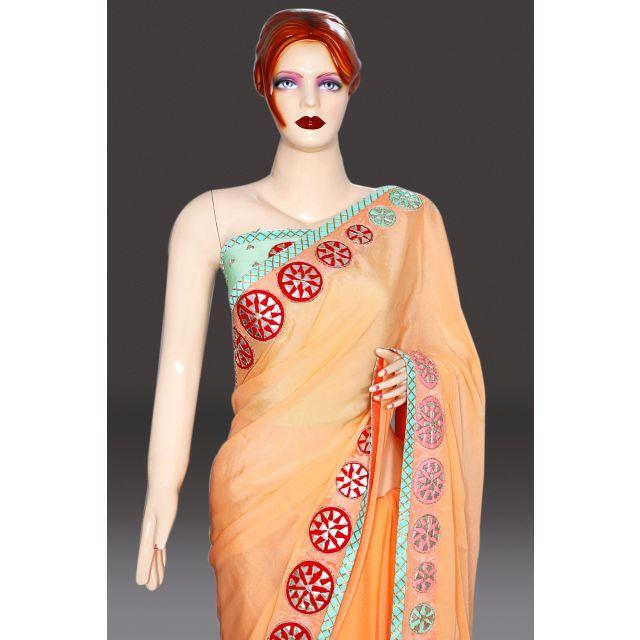 Peach Indian Wedding Saree with Blouse Wedding Saree Collection Online