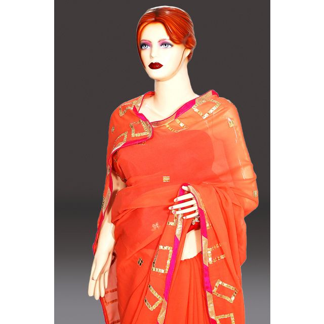 Buy Georgette Peach Color Wedding Wear Saree with Designer Blouse