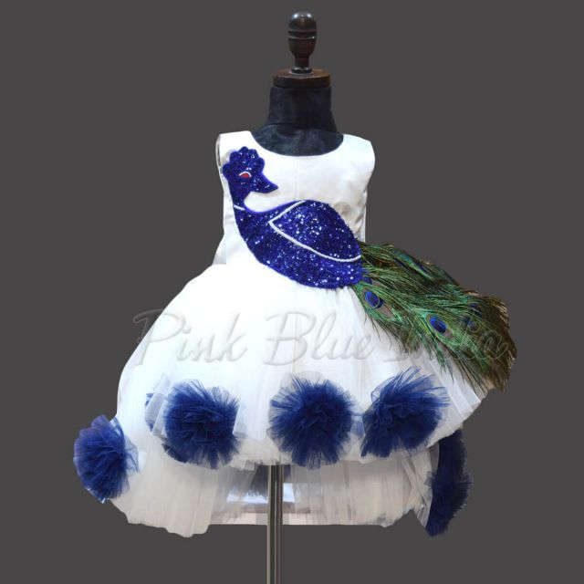 Peacock Feather Theme Birthday Party Dress for Baby Girls